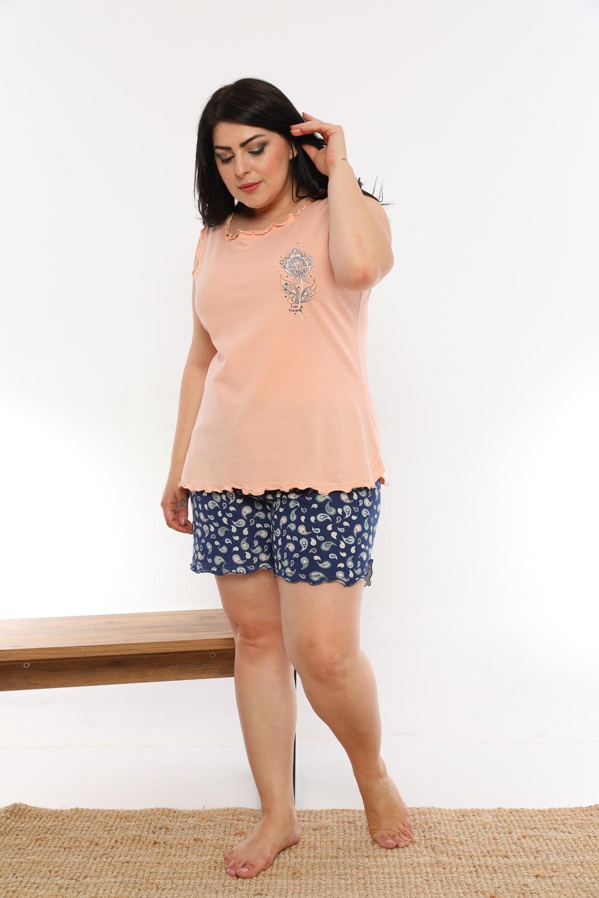Kadın Pudra Baskılı Pijama Takımı