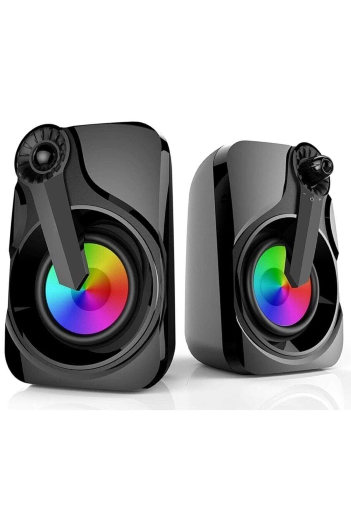 Renkli Led Işıklı Rgb Usb Bilgisayar Hoparlör Md-x27 Siyah
