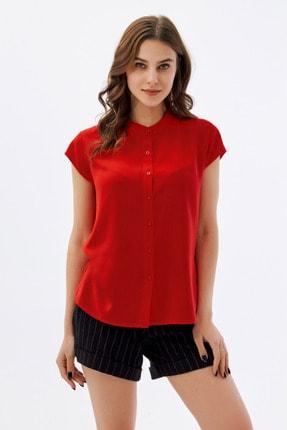 Pattaya Kadın Kırmızı Hakim Yaka Kısa Kollu Gömlek P21s110-1173 1