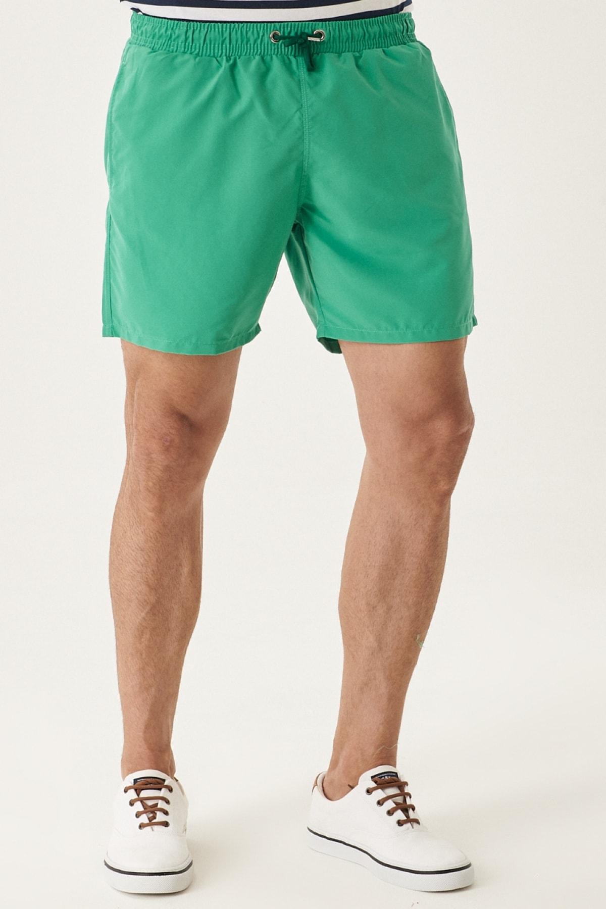 Erkek Yeşil Standart Fit Casual Mayo Deniz Şortu