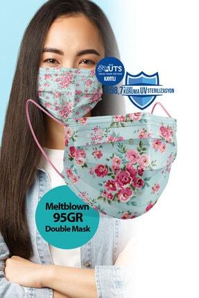 Medizer Madame Spring Desen Meltblown Ultrasonik 3 Katlı Cerrahi Maske - Burun Telli 10'lu 1 Kutu 2