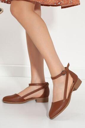 MaskButik Kadın Taba Rayna Kısa Topuk Cilt Ayakkabı 1