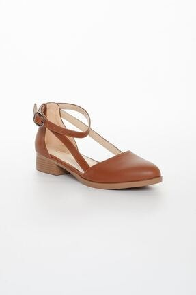 MaskButik Kadın Taba Rayna Kısa Topuk Cilt Ayakkabı 3