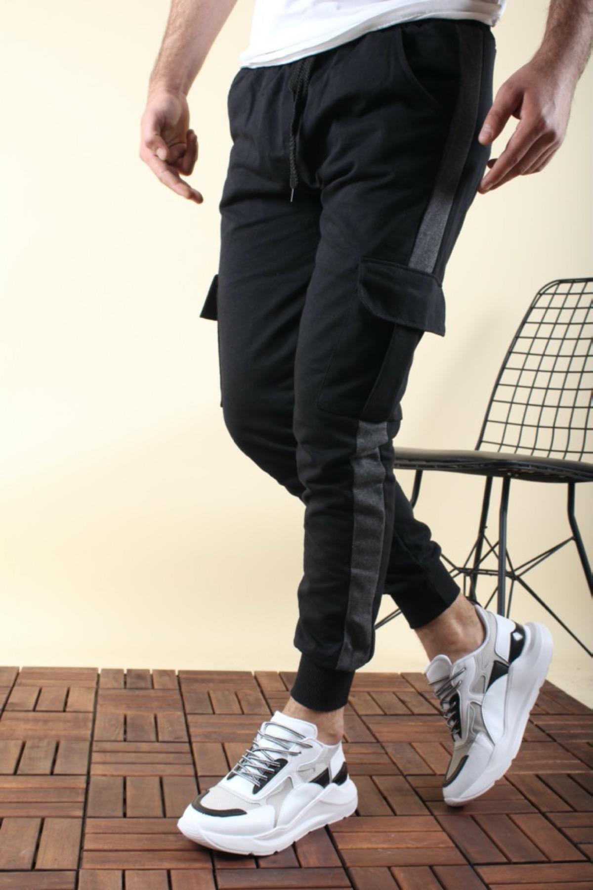 Masi 2020 Slim Fit Şeritli Kargo Cep Erkek Eşofman Altı