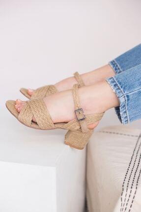 yesh Kadın Hasır Kalın Topuklu Sandalet 2
