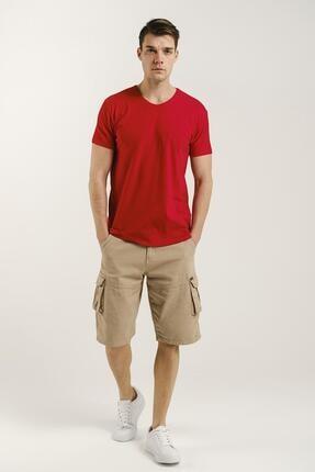 Oksit Erkek Kırmızı Riley V Yaka Slim Fit Basic Tshirt 1