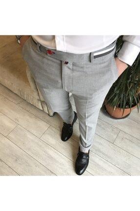 TerziAdemAltun Italyan Stil Slim Fit Erkek Kumaş Pantolon Gri T4279 0