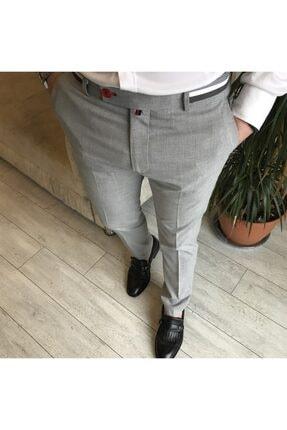 TerziAdemAltun Italyan Stil Slim Fit Erkek Kumaş Pantolon Gri T4279 1