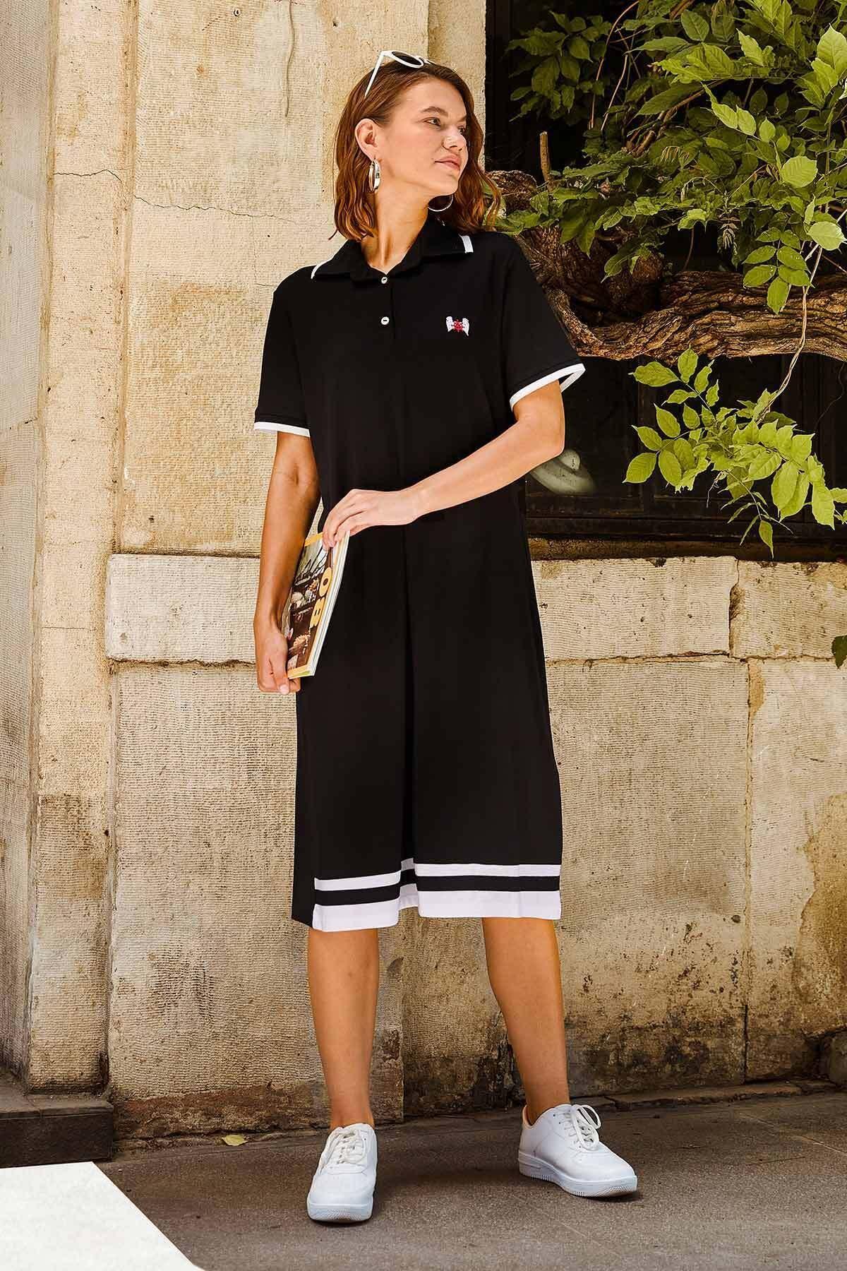 Kadın Polo Yaka Pike Elbise - Siyah