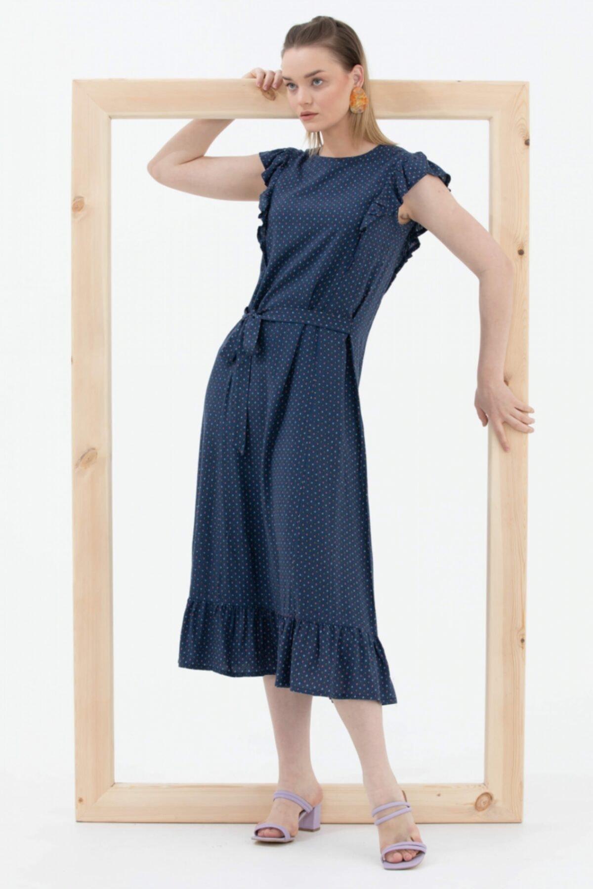 Fırfır Ve Kemer Detaylı Elbise - Lacivert