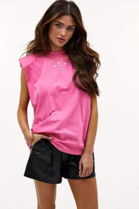 Madmext Kadın Pembe Vatkalı T-Shirt Mg900 2