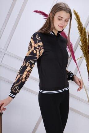 Kadın Siyah Altın Ceket Desen MS1472