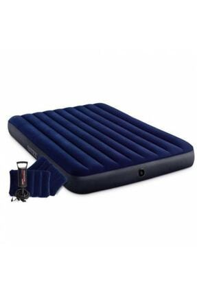 Intex Fiber-tech Klasik Çift Kişilik Şişme Yatak Set 152x203x25 Cm 2adet Yastık Ve Pompa Dahil 64765 0