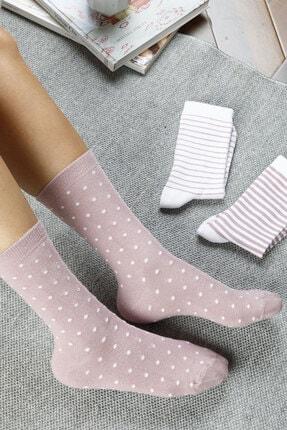 تصویر از Colourful Pamuk Kadın Çorap Beyaz - Pembe
