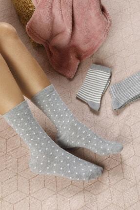 تصویر از Colourful Pamuk Kadın Çorap Beyaz - Gri