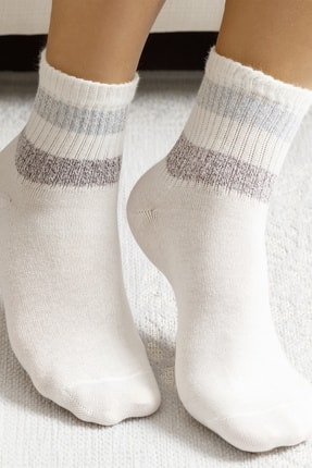 English Home Soft Stripe Pamuk Kadın Çorap Beyaz 0