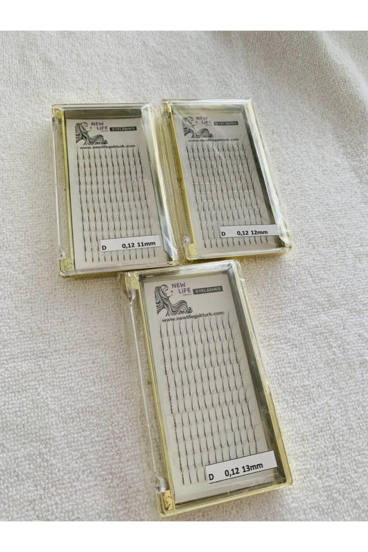 Ipek Kirpik 3d- 3 Kutu D Kıvrım 0,12 Kalınlık 11-12-13mm Uzunluk (HESAPLI PAKET)