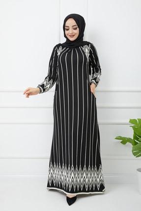 Çizgili Siyah Uzun Kollu Maxi Elbise 2017