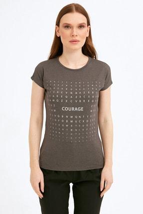 Fullamoda Kadın Antrasit Simli Courage Baskılı Tshirt 2