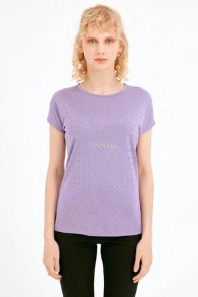 Fullamoda Kadın Lila Simli Courage Baskılı Tshirt 2