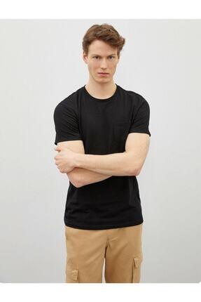 Koton Erkek Siyah Bisiklet Yaka Kısa Kollu Basic Pamuklu T-Shirt 1