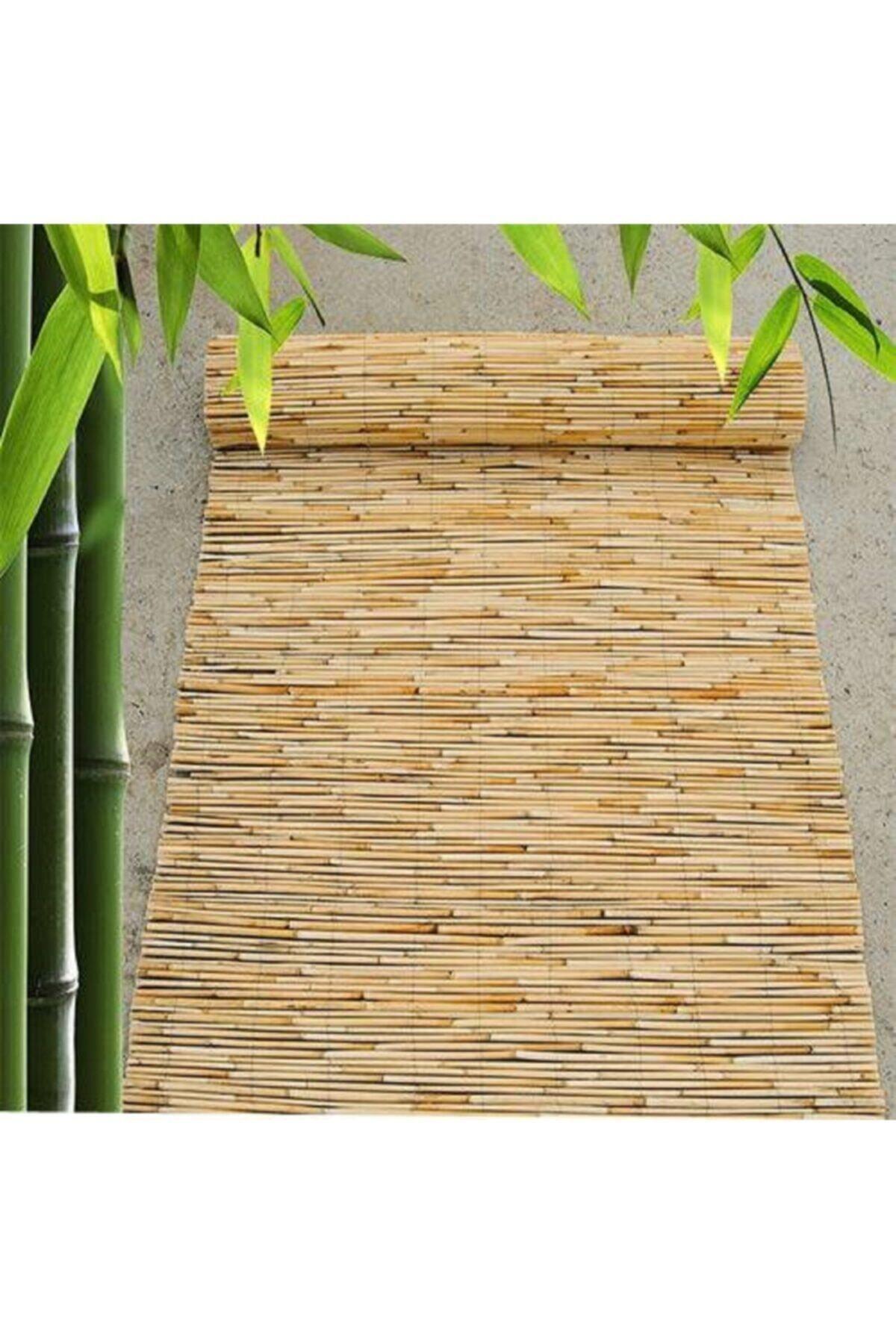 Doğal Kamış Hasır Çit  Doğal Bambu Misine Iplik Makine Örgüsü 80cm X 4.5m