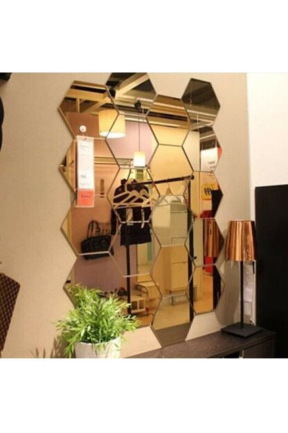 Bal Peteği Gold Dekoratif Altıgen Pleksi Ayna Gold