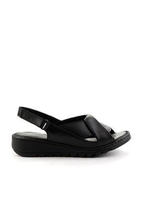 Bambi Siyah Hakiki Deri Kadın Sandalet K05907001803 1