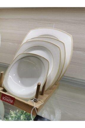 Schafer Elga Porselen Yemek Takımı 24 Parça Altın 2