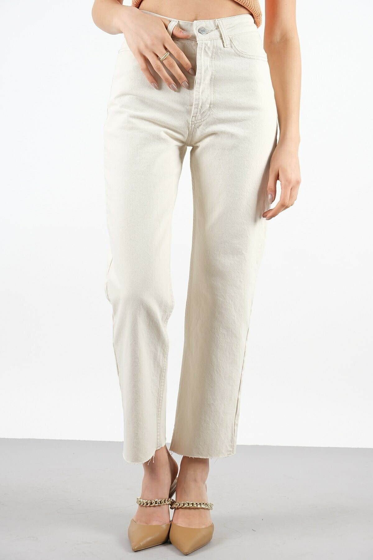 Kadın Krem Kesik Paça Pantolon