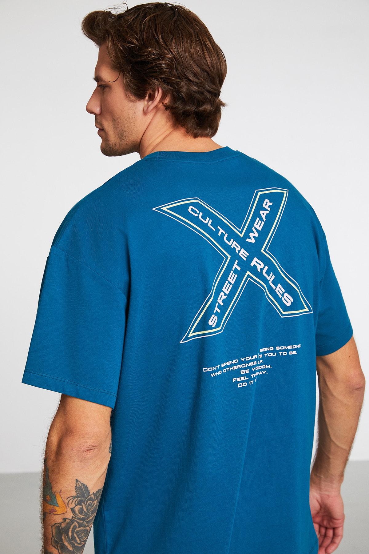 Hashtag Erkek Petrol Oversize Bisiklet Yaka Baskılı Geniş Kesim T-shirt