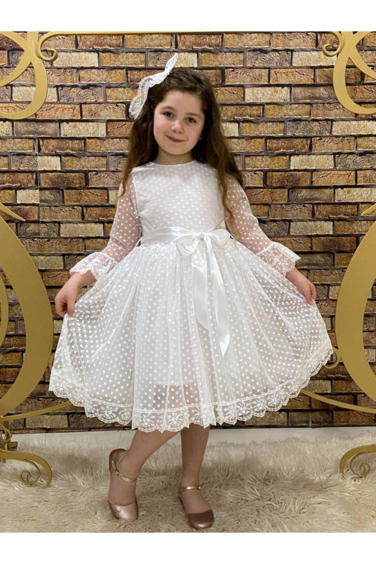 Puantiyeli Tüllü Elbise.doğum Günü Elbisesi