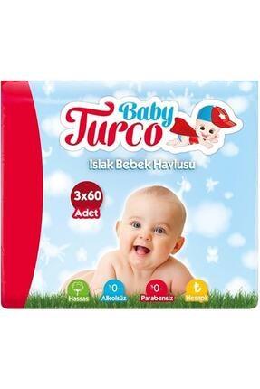 Baby Turco Klasik Plastik Kapaklı 3'lü Set 180 Yaprak Islak Havlu Mendil 0