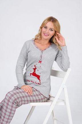 Pijama Denizi Kadın Uzun Kollu Düğmeli  Geyik Nakışlı Gri Ekoseli Interlok Pijama Takımı 2