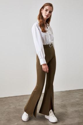 TRENDYOLMİLLA Haki Taşlı Kemerli Yırtmaç Detaylı Örme Pantolon TWOSS20PL0100 2