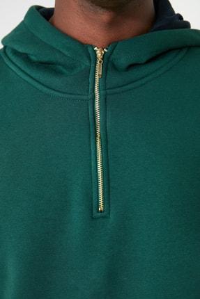 TRENDYOL MAN Ördek Başı Yeşili Erkek Kapüşonlu Yarım Fermuarlı Yeni Sweatshirt TMNAW20SW0507 2