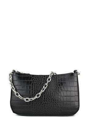 Housebags Kadın Siyah Timsah Görünümlü Baguette Çanta 192 0