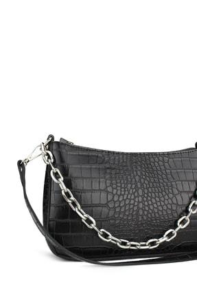 Housebags Kadın Siyah Timsah Görünümlü Baguette Çanta 192 1