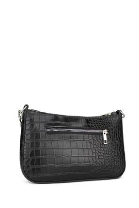 Housebags Kadın Siyah Timsah Görünümlü Baguette Çanta 192 2