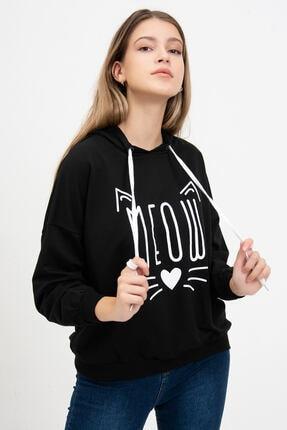 Mossta Kadın Siyah Meow Baskılı Sweatshirt 0