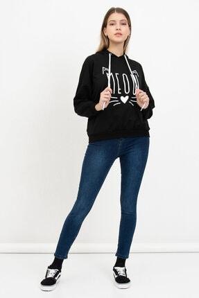 Mossta Kadın Siyah Meow Baskılı Sweatshirt 2