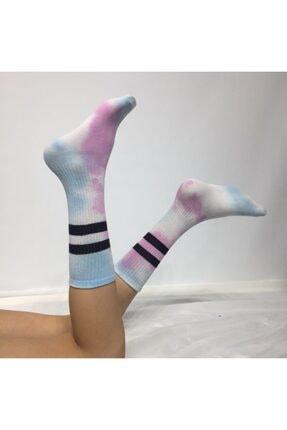 Adel Unisex Mavi Batik Boyalı Çorap 0