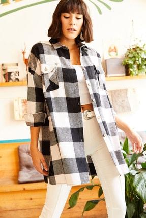 Olalook Kadın Siyah Çift Cepli Yanı Yırtmaçlı Oversize Oduncu Gömlek GML-19000719 2