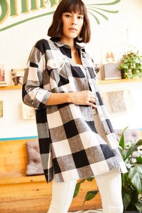 Olalook Kadın Siyah Çift Cepli Yanı Yırtmaçlı Oversize Oduncu Gömlek GML-19000719 3