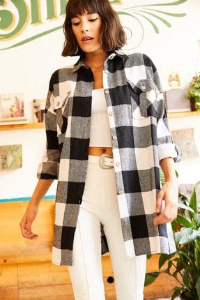 Olalook Kadın Siyah Çift Cepli Yanı Yırtmaçlı Oversize Oduncu Gömlek GML-19000719 4