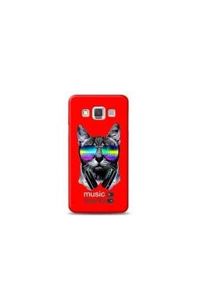 Kılıf Madeni Samsung Galaxy A3 Kedi Music Kırmızı Koleksiyon Telefon Kılıf Y-krmklf080 0