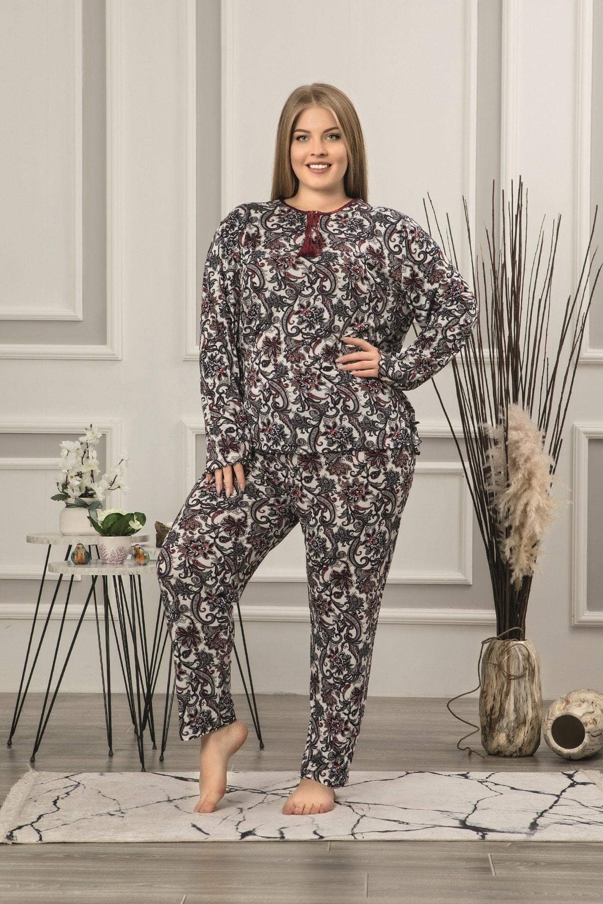 Kadın Vintage Viskon Uzun Kol Battal Pijama Takım