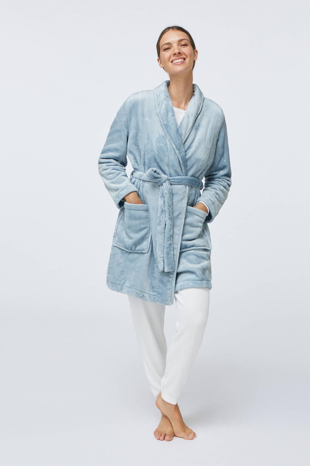 Oysho Kadın Mavi Puantiye Desenli Yumuşak Mavi Sabahlık 1