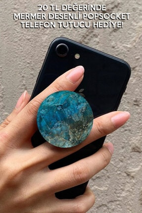 Cekuonline Samsung Galaxy A11 Kılıf Mavi Kaplama Silikon Ve Mermer Desen Popsocket 3
