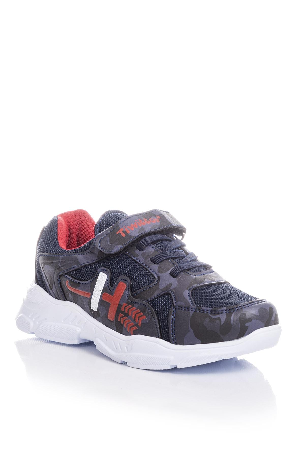 Tonny Black Erkek Çocuk Lacivert Kırmızı Sneaker TBZ13-3 1